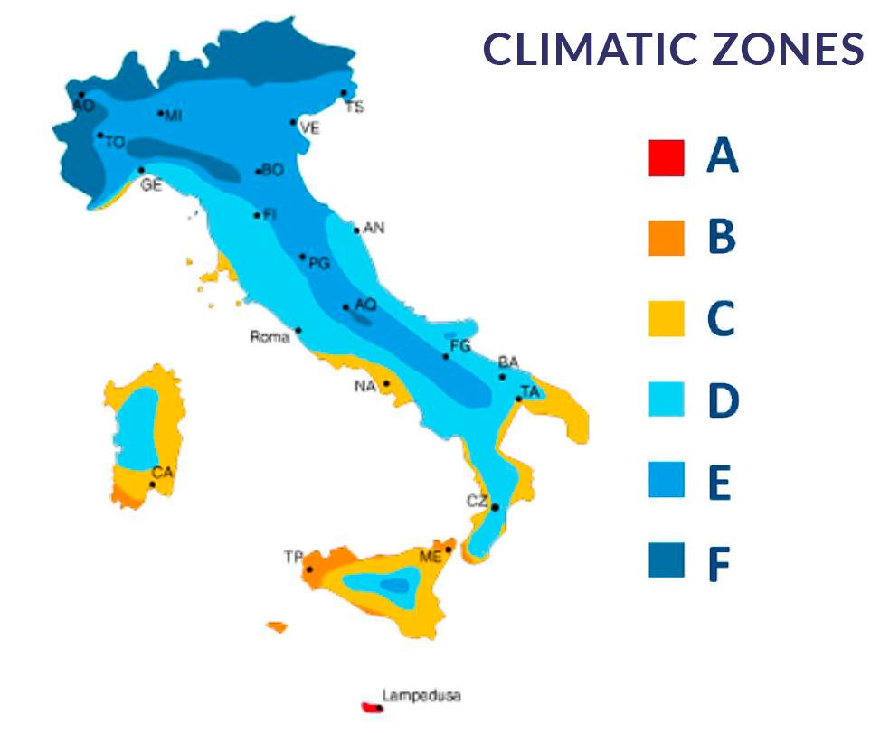 Portoni coibentati ISOMAX IMVA - italia zone climatiche